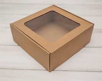 Коробка с окошком, 25х25х10 см, из плотного картона, крафт