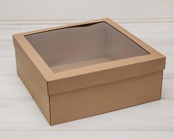 Коробка для венка с прозрачным окошком, 30х30х12 см, крафт