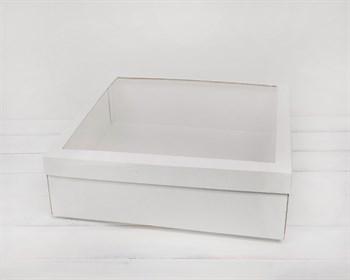Коробка для венка с прозрачным окошком, 40х40х12 см, белая