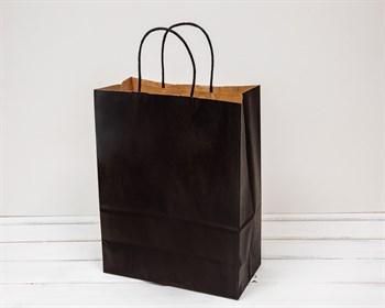 Крафт пакет бумажный, 31х25х12 см, черный