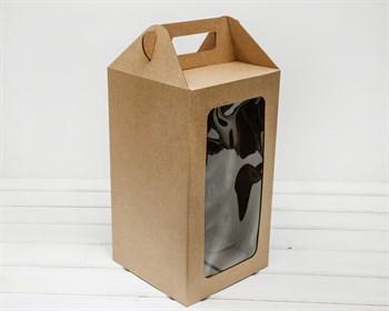 Коробка для кукол, с окошком и ручкой, 36х20х20 см, крафт