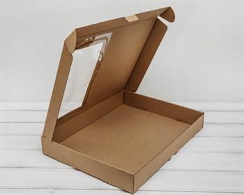 Коробка плоская с окошком 39,5х30х5 см, крафт