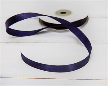 Лента атласная, 12 мм, темно-синяя, 1 м