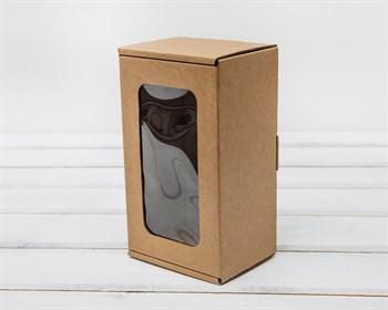 Коробка с окошком, 17х10х8 см, из плотного картона, крафт