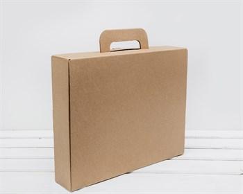 Коробка чемоданчик с ручкой 33х28х7 см, крафт