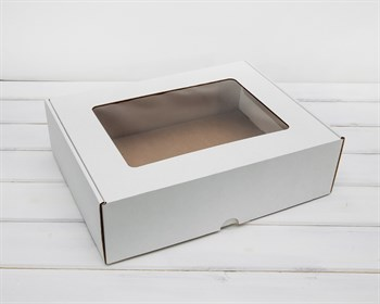 Коробка для капкейков/маффинов на 12 шт, из плотного картона, с окошком, 35х26,5х10 см, белая ( БЕЗ ЛОЖЕМЕНТА)
