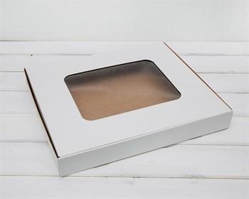 Коробка плоская с окошком, 36х30,5х4,5 см, белая