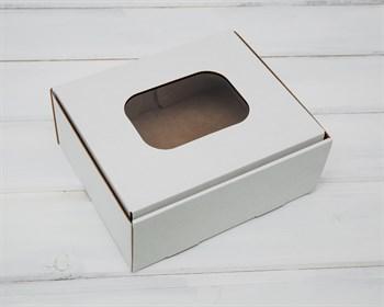 Коробка с окошком, 18х15х7 см, из плотного картона, белая