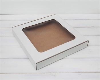 Коробка плоская с окошком, 30х30х4,5 см, белая