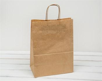 Крафт пакет бумажный, 35х26х15 см, с кручеными ручками, коричневый
