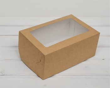 Коробка для выпечки, 25х16х11 см, с прозрачным окошком, крафт