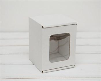 Коробка с окошком, 10х10х12 см, из плотного картона, белая
