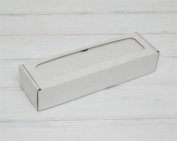 Коробка для  Вкусной  ложки, 25х8х5 см, с прозрачным окошком, белая