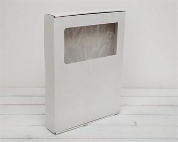 Коробка плоская с окошком 39,5х30х5 см, белая