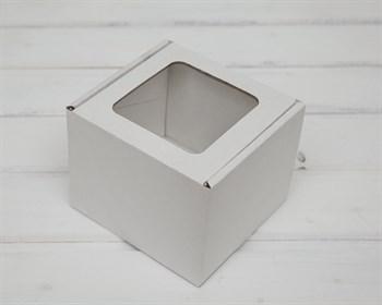 Коробка с окошком, 13х13х11 см, из плотного картона, белая