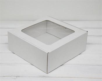 Коробка с окошком, 25х25х10 см, из плотного картона, белая