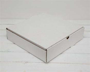 Коробка для пирога 33х33х8 см из плотного картона, белая