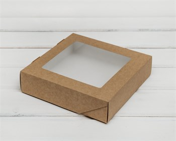 Коробка для выпечки и пирожных, 19,5х19,5х4,8 см, с прозрачным окошком, крафт