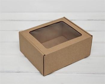 Коробка с окошком, 19х16х8,5 см, из плотного картона, крафт