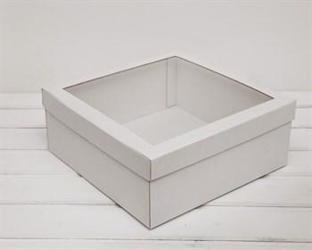 Коробка для венка с прозрачным окошком, 30х30х12 см, белая
