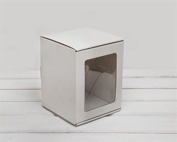 Коробка с окошком, 14х14х17 см, из плотного картона, белая