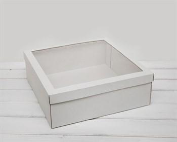 Коробка для венка с прозрачным окошком, 48х48х12 см, белая