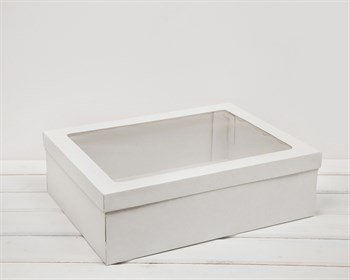 Коробка с окошком 40х30х12, крышка-дно, белая