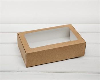 Коробка для выпечки, 23х14х6,5 см, с прозрачным окошком, крафт