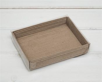 Коробка с прозрачной крышкой гофрированная, 14х10,5х2,5 см, крафт