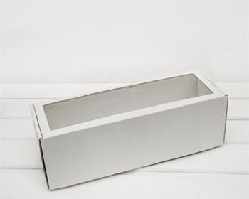 Коробка с окошком, 36х12х12 см, из плотного картона, белая
