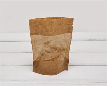 Пакет Дой-пак с zip-lock и окошком, 15х10,5х3,5 см, коричневый