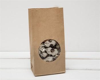 Крафт пакет бумажный с окошком 20х10х6, коричневый