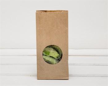 Крафт пакет бумажный с окошком 25х12х8, коричневый
