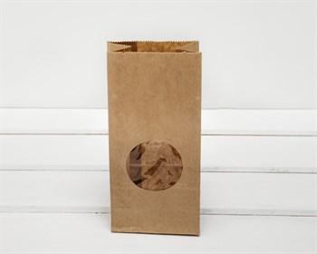 Крафт пакет бумажный с окошком 17х8х5, коричневый