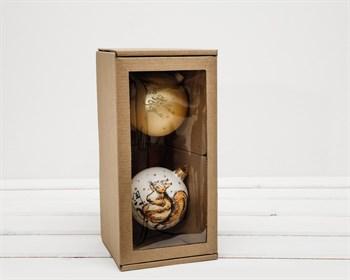 Коробка для двух ёлочных шаров с окошком, 24х12х12 см, из плотного картона, крафт