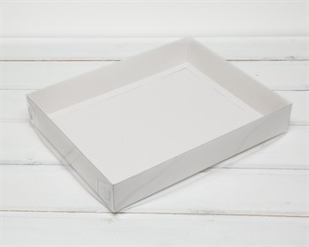 Коробка с прозрачной крышкой Классика, 28х22х4,5 см, белая