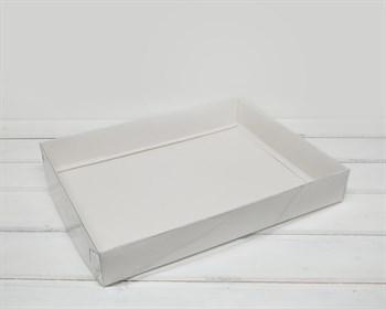 Коробка с прозрачной крышкой Классика, 30х20х4,5 см, белая