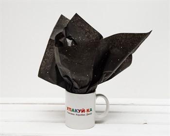 Бумага тишью, черная с цветным глиттером, 50х66 см