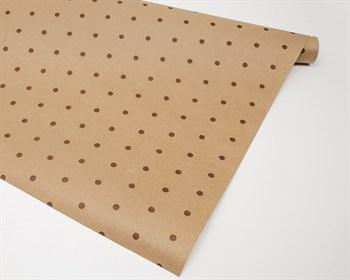 Бумага упаковочная, в коричневый горошек, 70см х 10м, крафт, 1 рулон