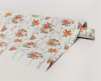 Бумага упаковочная, 70х100 см, розы на белом, 1 лист