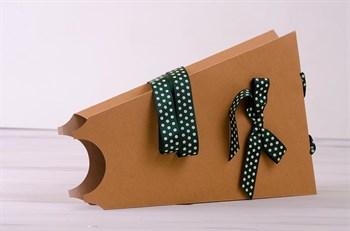 Сумка-конус для цветов   Зеленая в горошек, 23х35х5 см