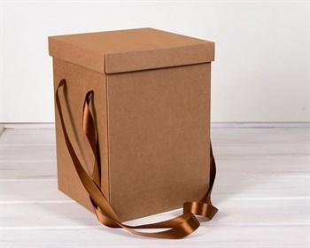 Коробка подарочная для цветов  23х23х32,5 см, с крышкой, крафт