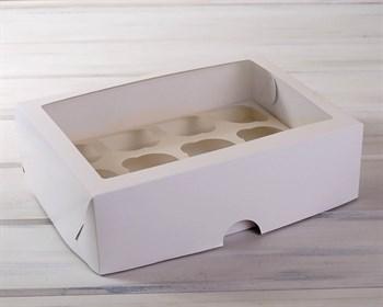 Коробка для капкейков/маффинов на 12 шт, с прозрачным окошком, 33х25х10, белая