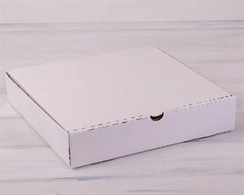 Коробка для пирога 35х35х7 см из плотного картона, белая