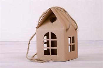Коробка декоративная  Домик  с ручками и окошками, 12х12х20 см
