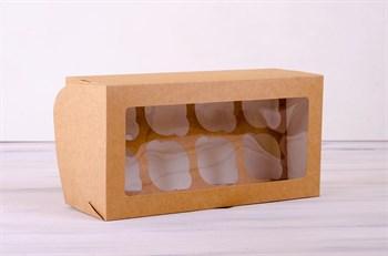 Коробка для капкейков/маффинов на 8 шт, 33х16х11 см, с прозрачным окошком, крафт