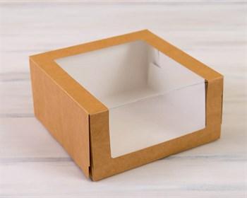 Коробка для торта от 1 до 3 кг,  22,5х22,5х10,5 см, с верхним и боковым окошком, d= 15-25 см, крафт