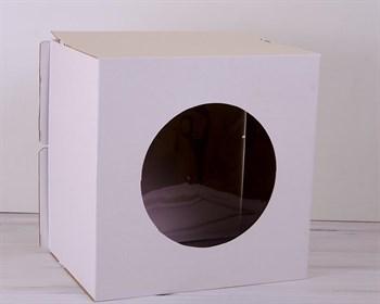 Коробка для торта от 1 до 8 кг, 40х40х29 см, с прозрачным окошком,  d= 15-39 см, белая
