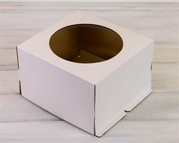 Коробка усиленная для торта от 1 до 3 кг, 30х30х19 см, с  прозрачным окошком, белая