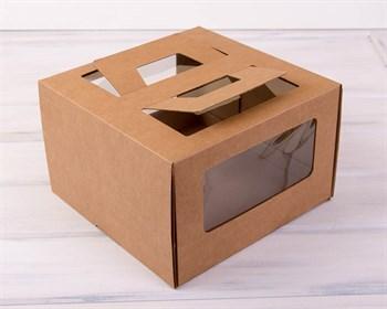 Коробка для торта от 1 до 3 кг, 30х30х19 см,  с ручками и прозрачным окошком, крафт